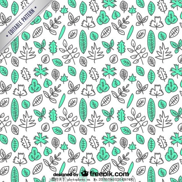 树树叶手绘图案 模式树 图标 一方面 设计 绿色 叶 秋 春 手绘 色彩