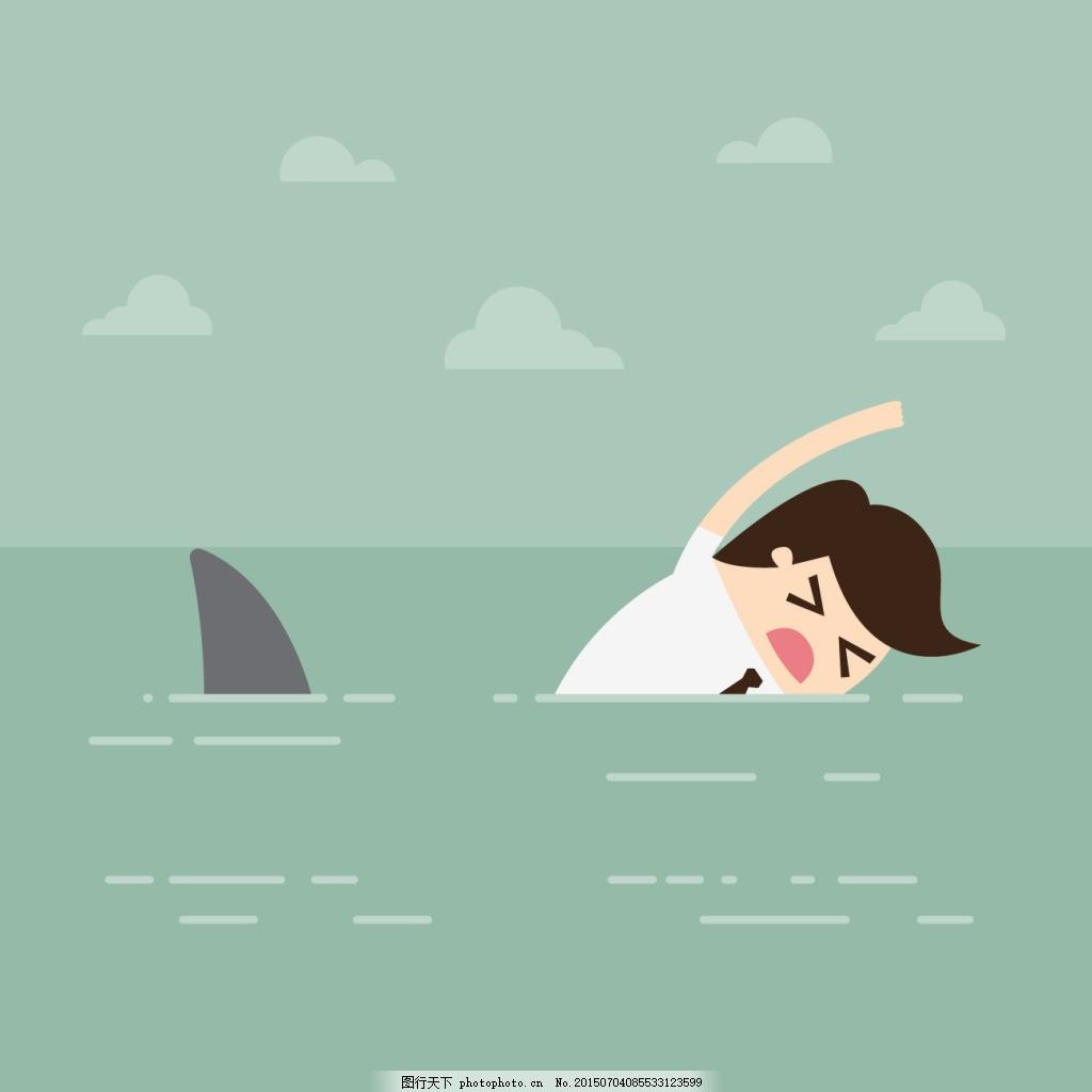 男子在海里游泳 游泳卡通人物 绿色