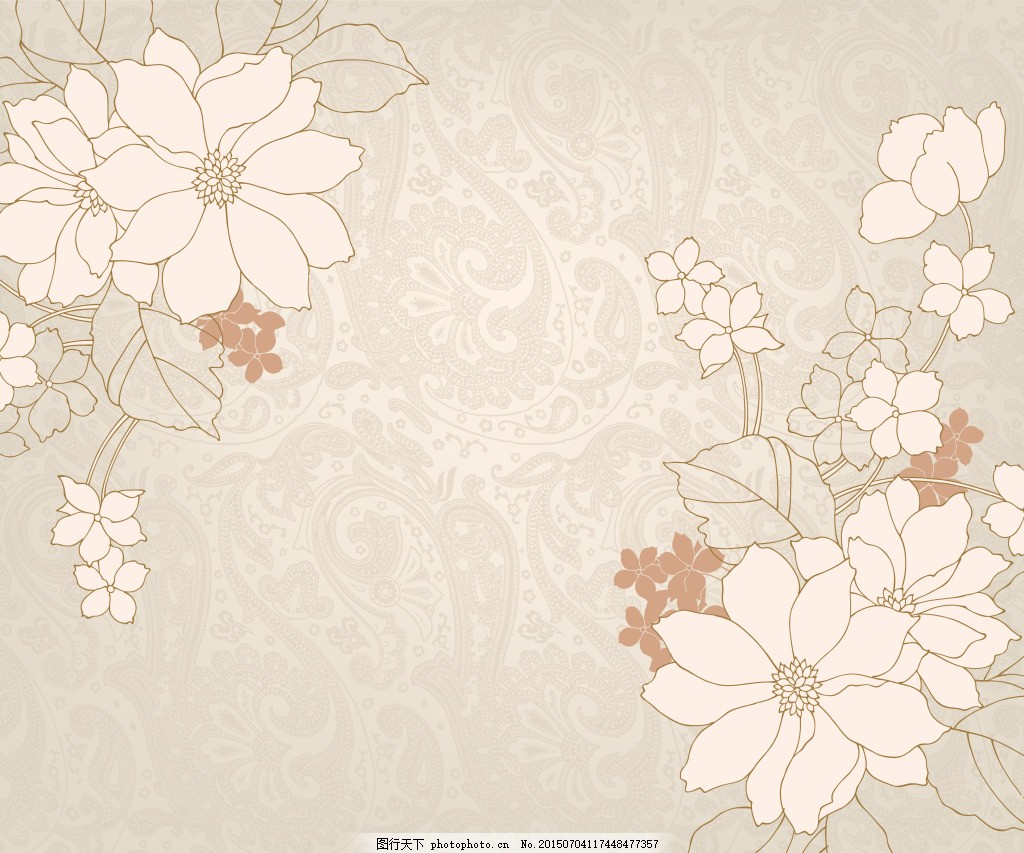 矢量小花 矢量图 欧式底纹 米色小花 白色