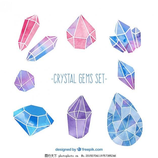 水彩画水晶宝石 手 钻石 集 手绘 白色