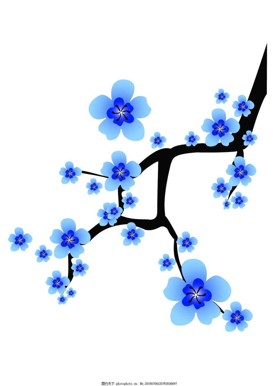 中国风青花瓷类矢量可编辑蓝色梅花