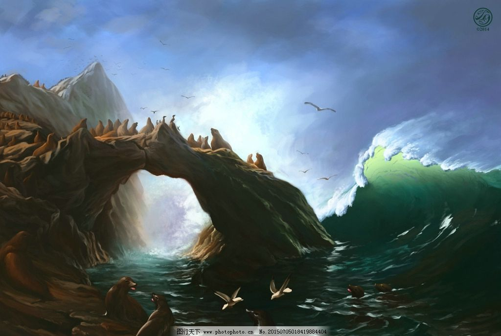 绘画海誓 野生动物 手绘画 自然景色 海浪 海狮 石岩 动漫动画