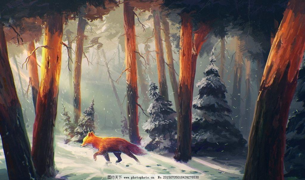手绘画 森林夕阳 雪地