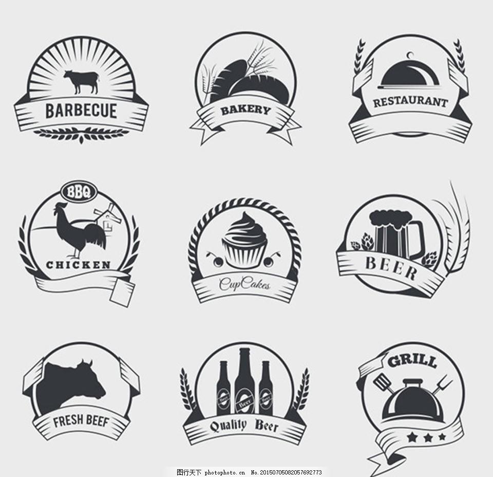 复古食品标签 手绘插画 餐饮 牛肉 肌肉 蛋糕 啤酒 甜点 牛排 面包