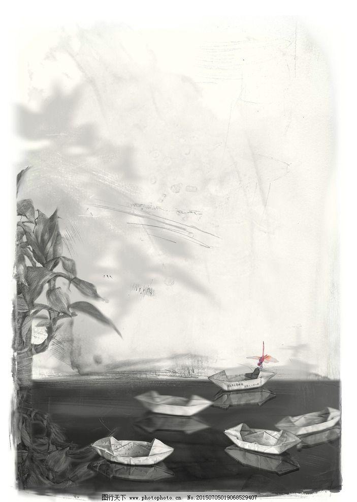 纸船铅笔画图片