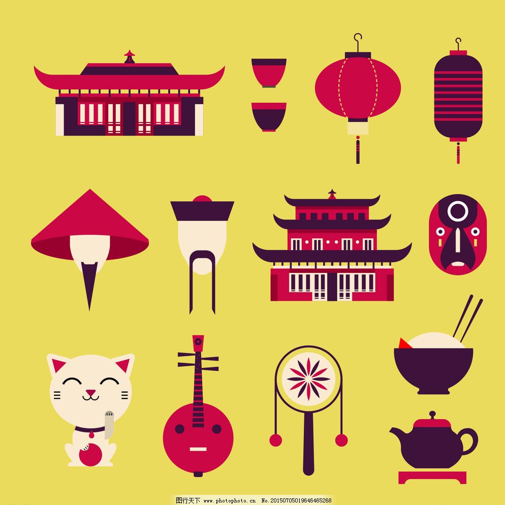 中国风图标 矢量素材 中国风 图标 矢量 素材 天安门 米饭 灯笼 猫 琵