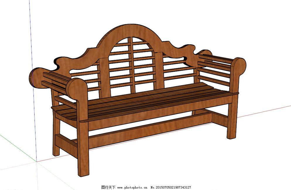 su模型 長椅 景觀模型 設計 室外模型 景觀小品 室外椅子 街道小品