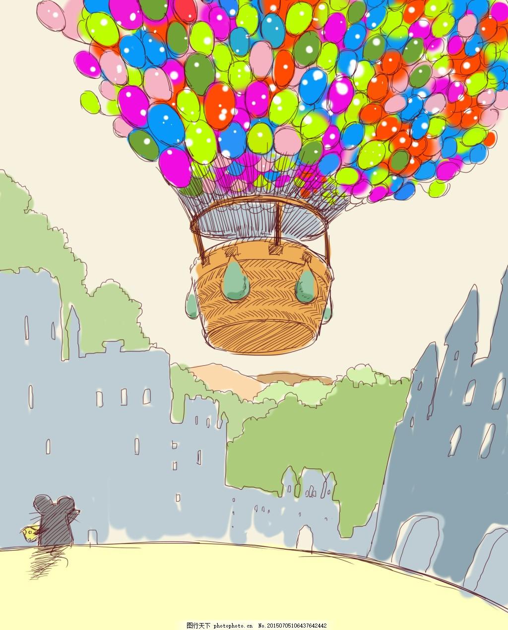 手绘小清新热气球插图