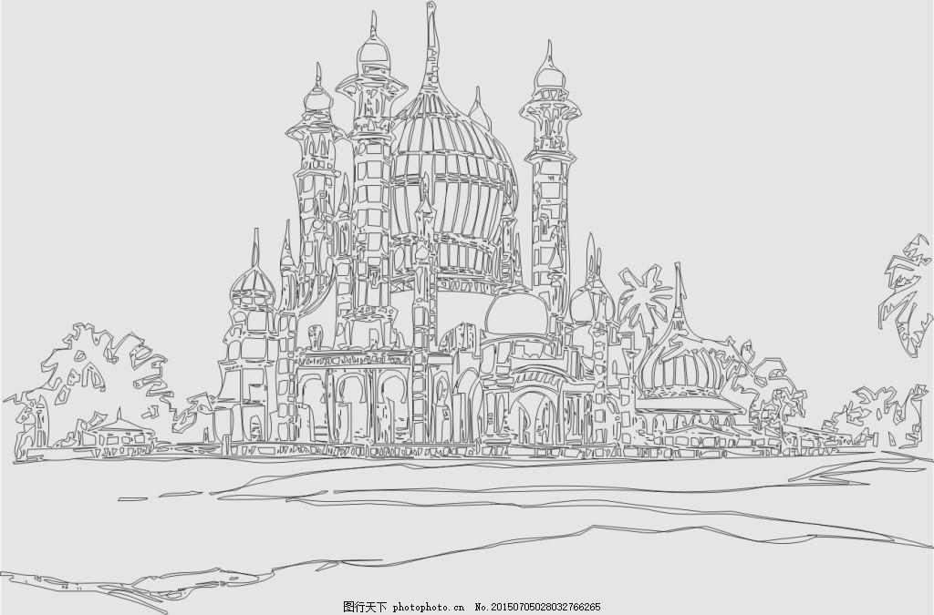 建筑 矢量 欧式建筑 古堡 房子 灰色
