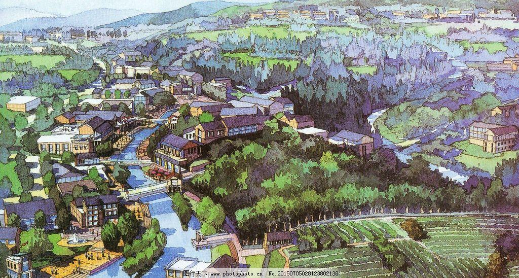 手绘社区鸟瞰图图片