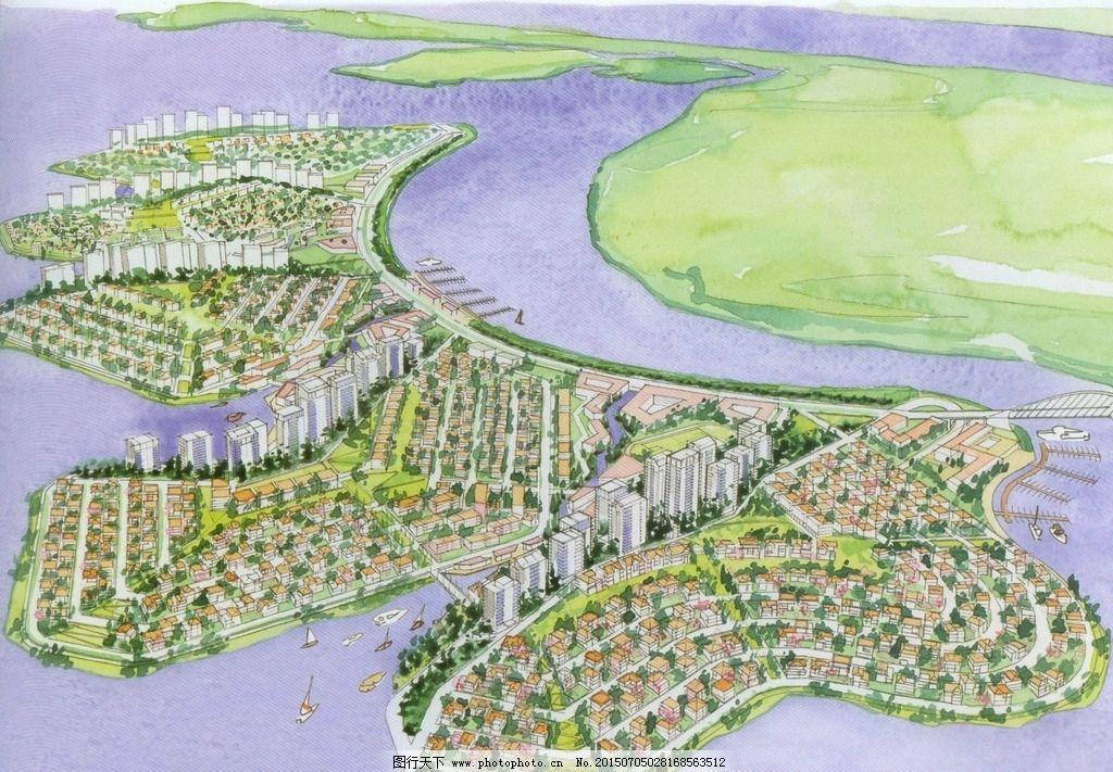 岛屿手绘总体规划鸟瞰图片_景观设计_环境设计_图行