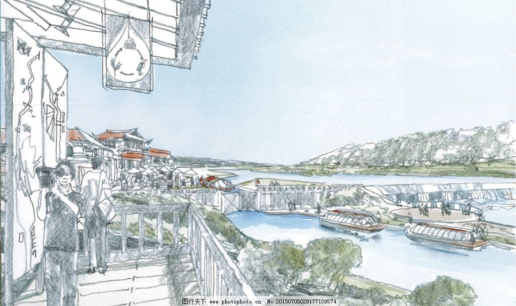 手绘效果图 景观设计 河流设计 走廊景观设计 手绘设计 规划设计 原创