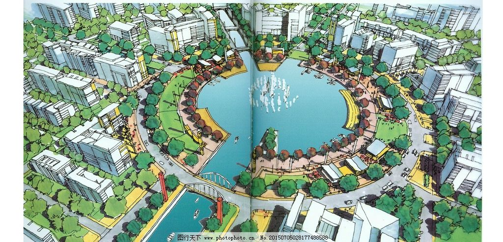 手绘城市设计效果图图片