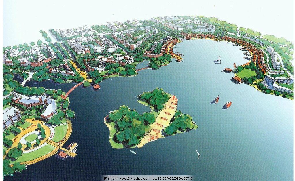 城市滨水景观设计图片,手绘效果图 景观手绘 手绘设计