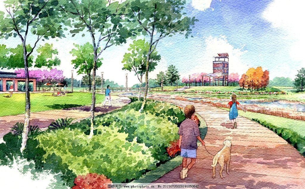 手绘效果图 景观设计 景观手绘 手绘设计 社区设计 场地设计 景观表现