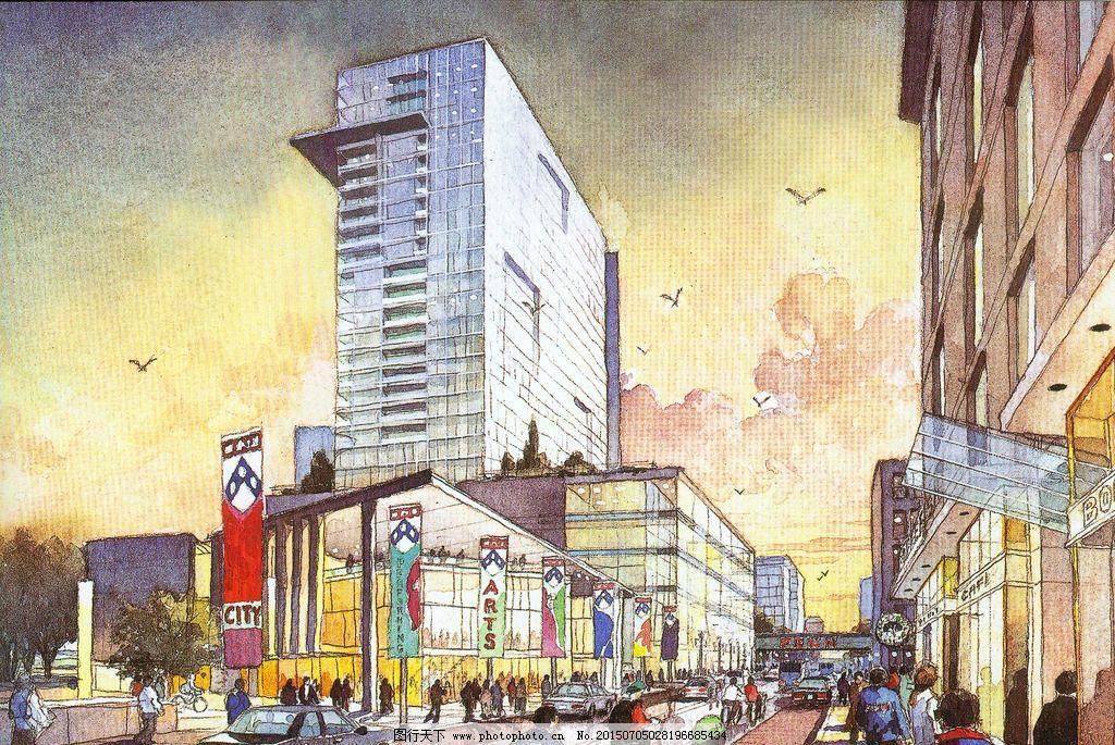 商业街手绘图片