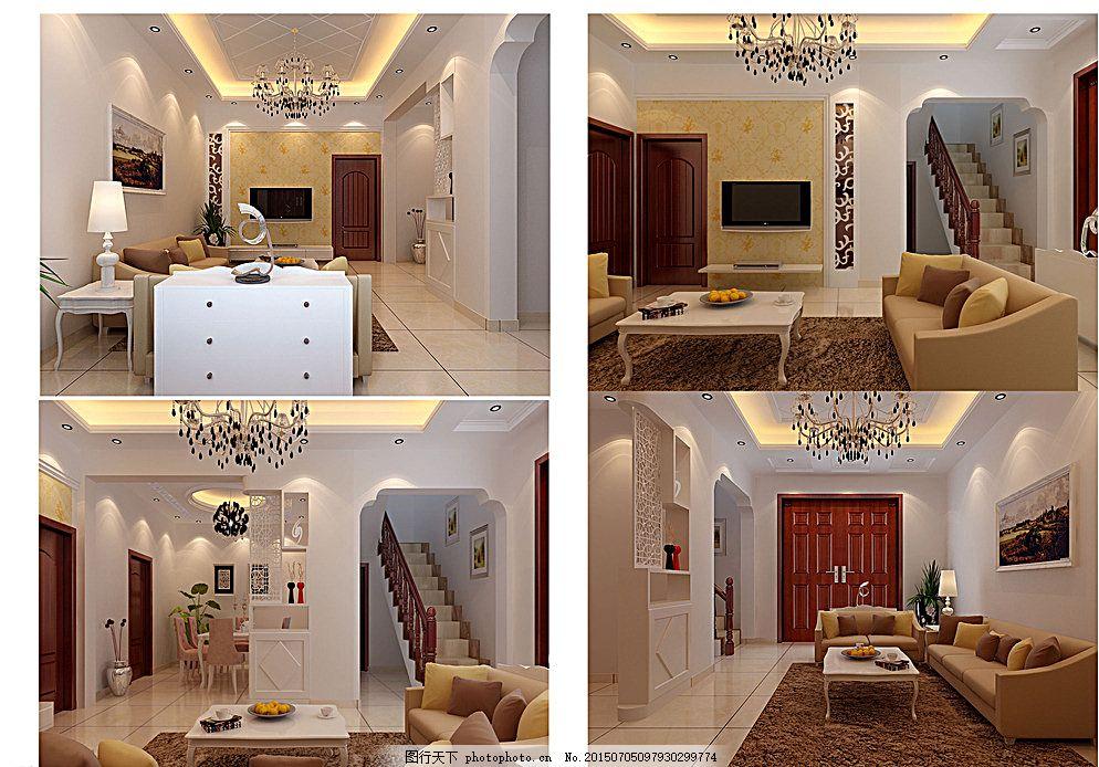 复式楼室内设计效果图 楼梯 鞋柜 电视 电视柜 电视背景墙 沙发图片