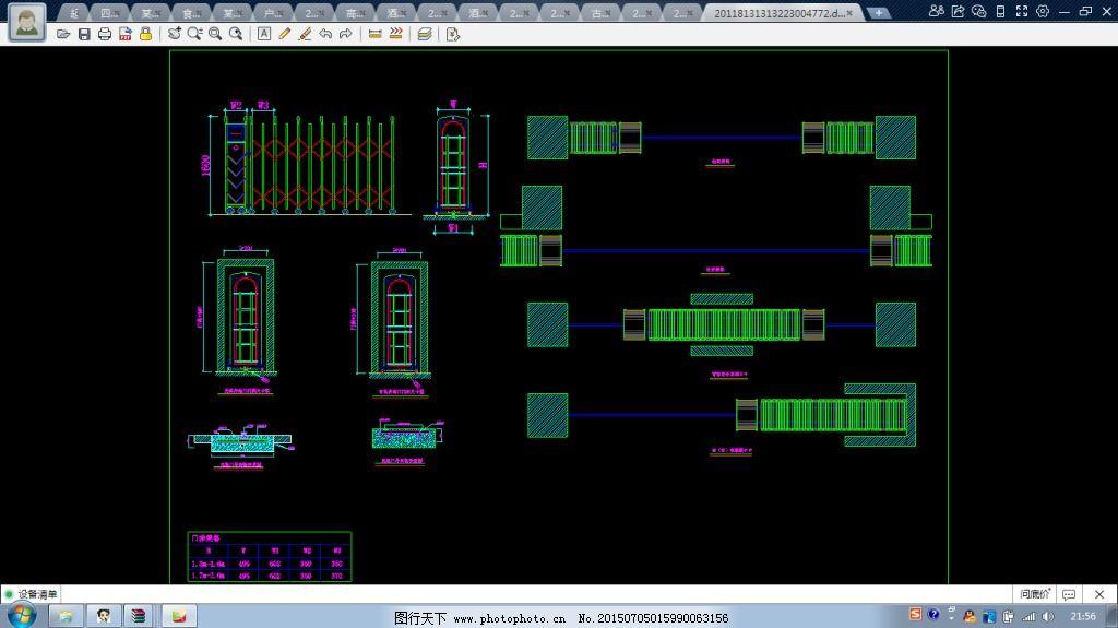 几套伸缩门CAD设计图cad箭头快捷键中图片