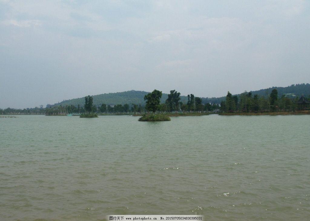人工湖 蓝天 白云 远山 树林 波纹 公园 摄影 自然景观 自然风景 314