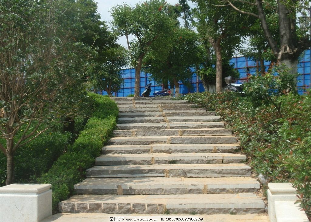 小径 树林 台阶 蓝天 白云 草地 公园 摄影 建筑园林 园林建筑