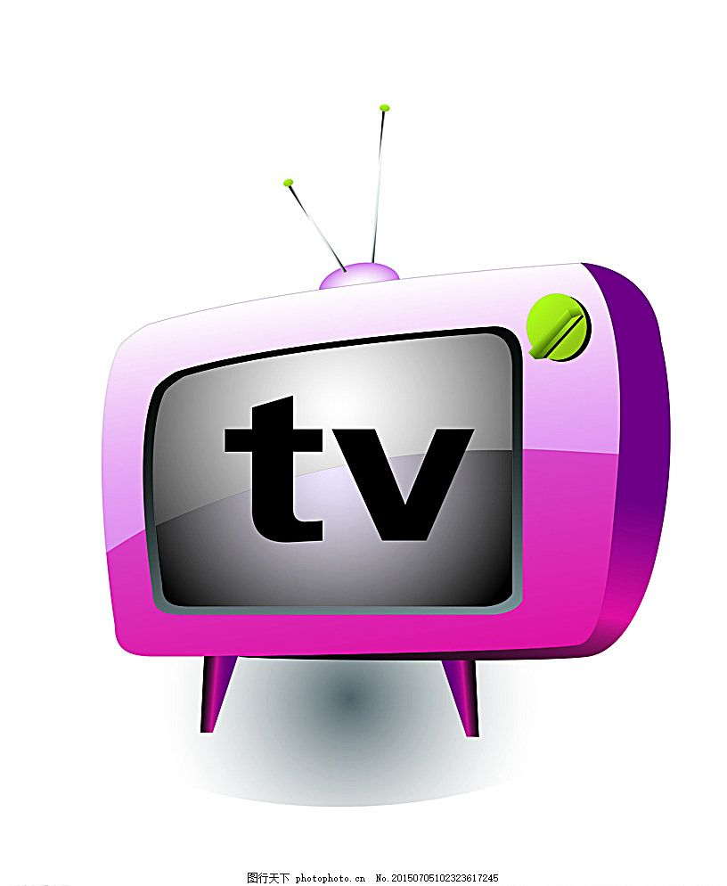 卡通电视机 tv 电视机 天线 开关 按钮 设计 标志图标 其他图标 ai