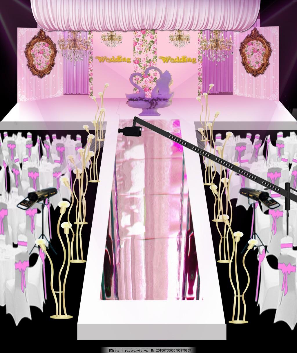 婚礼效果图 镜面 欧式框 龙珠 粉色 水晶灯 psd 黑色