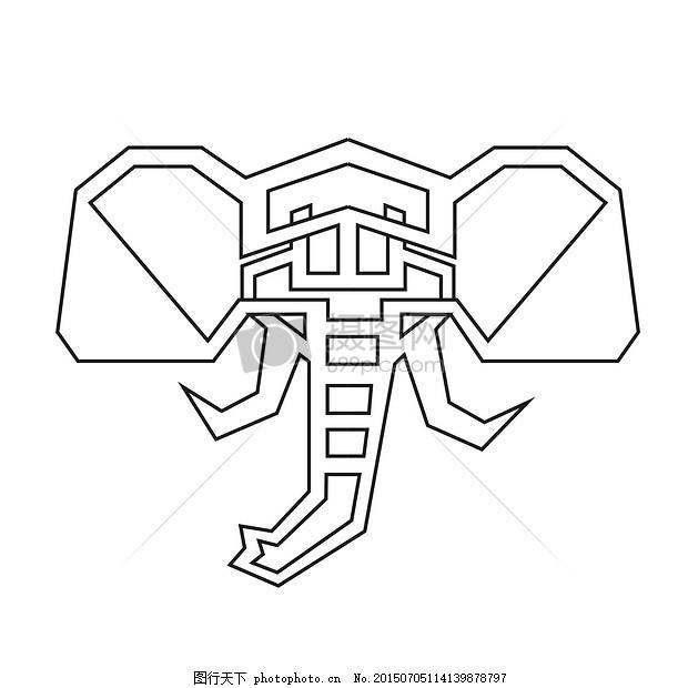 一张抽象的艺术 线 艺术 插图 大象 现代长方形 黑色 白色     红色