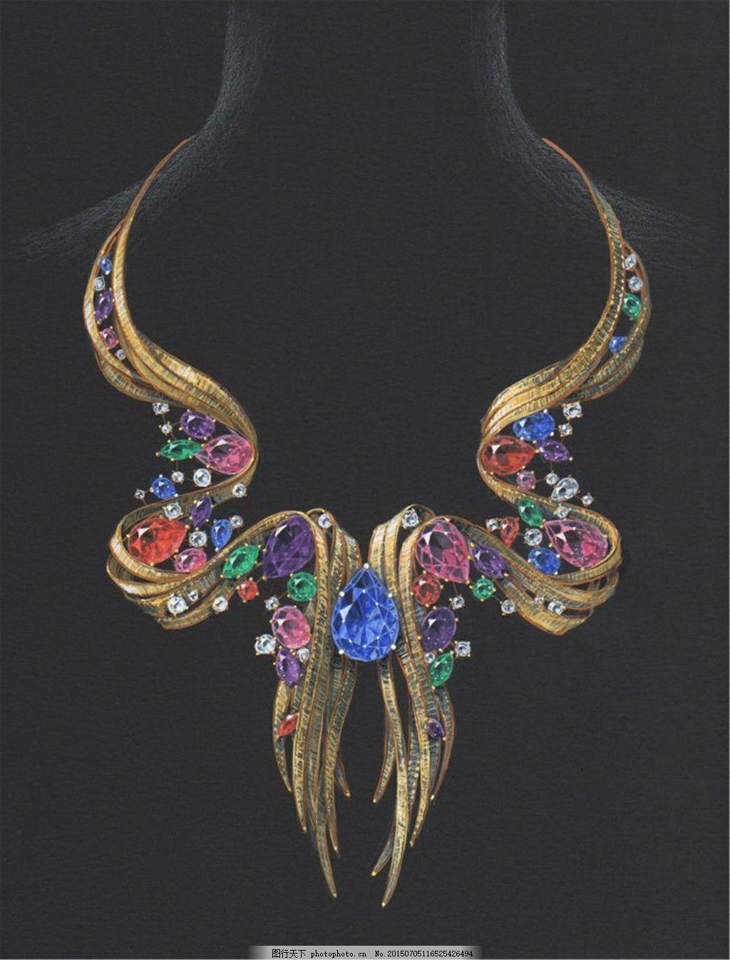 手绘项链珠宝图片设计 时尚 创意 潮流 新颖 美丽 黑色
