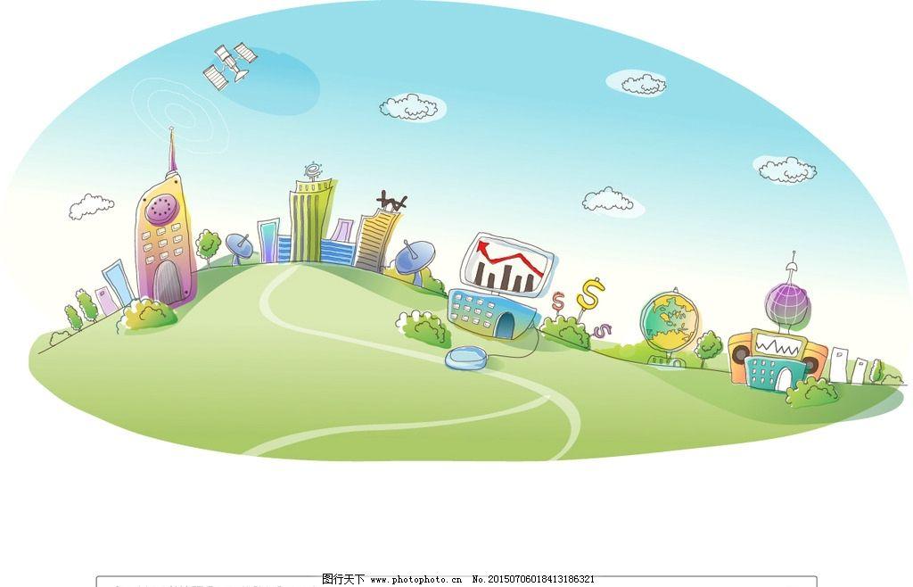 抽象未来科技城市插画图片