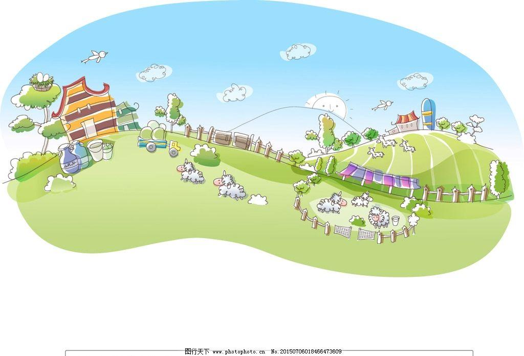 牧场矢量插画图片_风景漫画_动漫卡通_图行天下图库