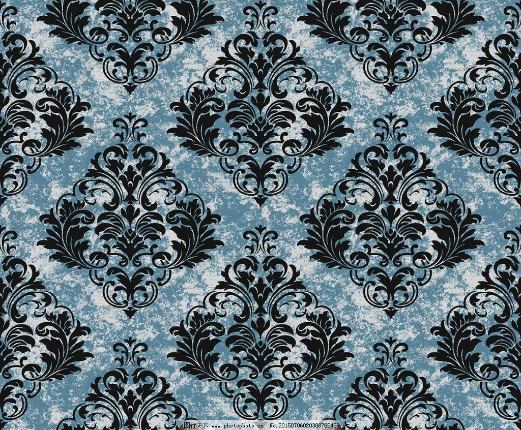 现代 简约 黑色 叶子 菱形 欧式 大马士革 壁纸 墙纸 壁纸 设计 底纹图片