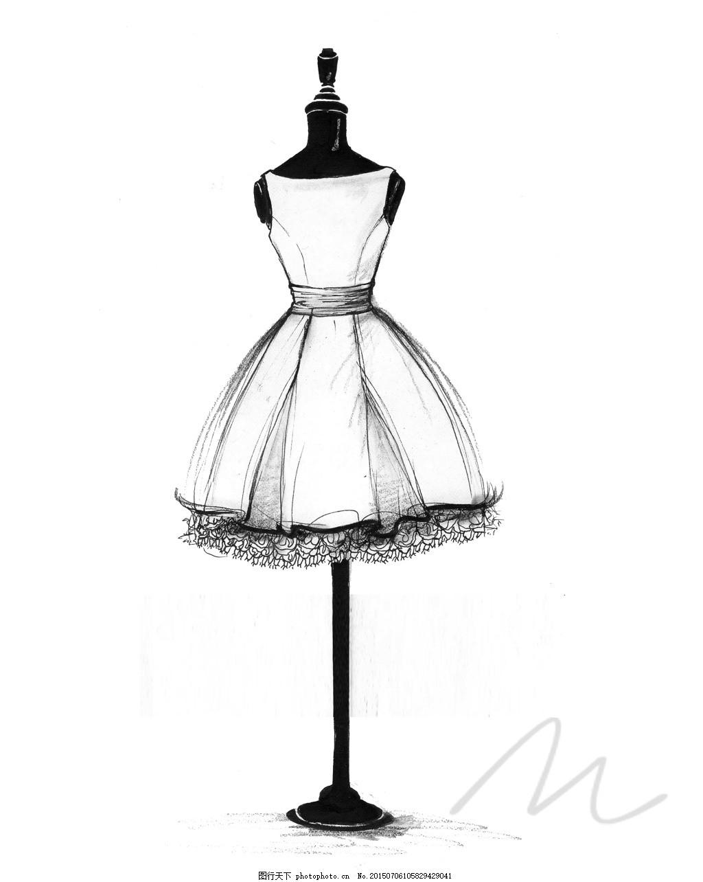 小黑裙 服装 女装 手绘 白色
