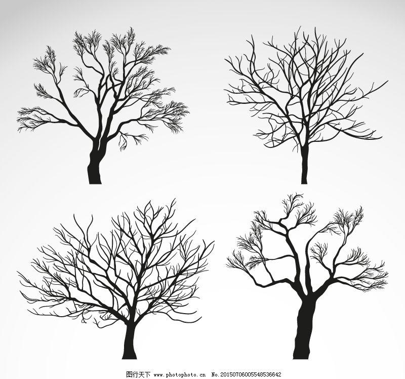 冬季树木矢量素材免费下载 ai格式 冬季 枯树 矢量图 树木 植物 冬季