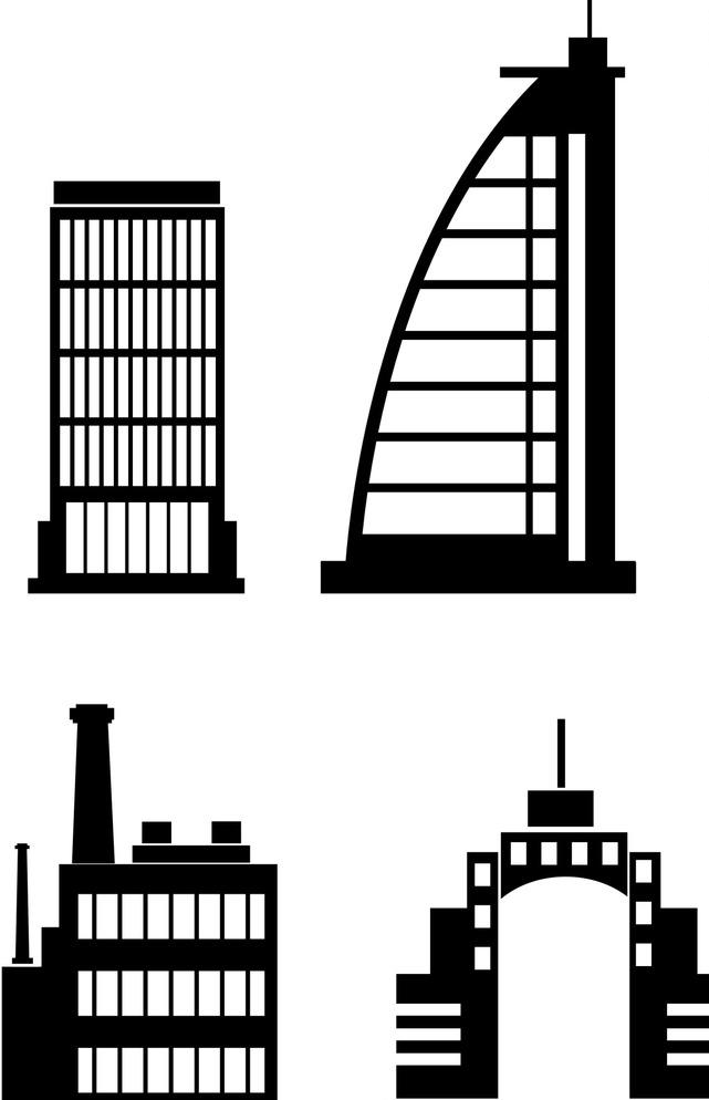 手绘城市 工业大厦剪影 设计 环境设计 建筑设计 cdr 家居装饰素材