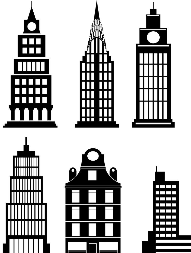 城市建筑 城市建筑剪影 建筑剪影 楼房剪影 高楼剪影 大厦剪影 手绘