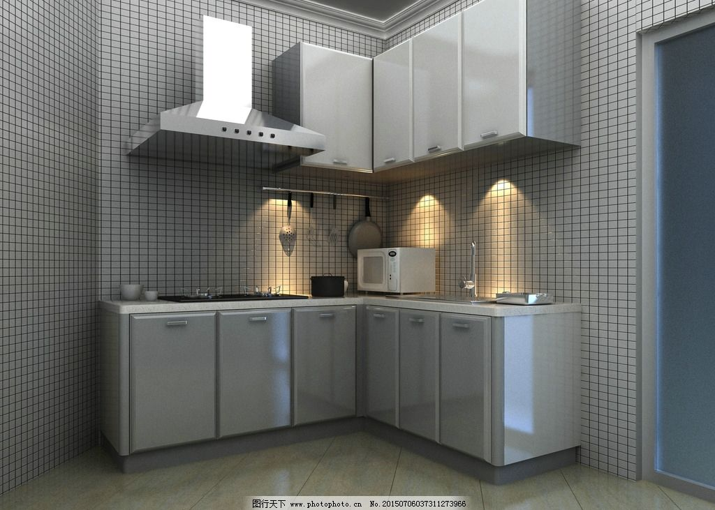 整体厨房 橱柜效果图 抽油烟机