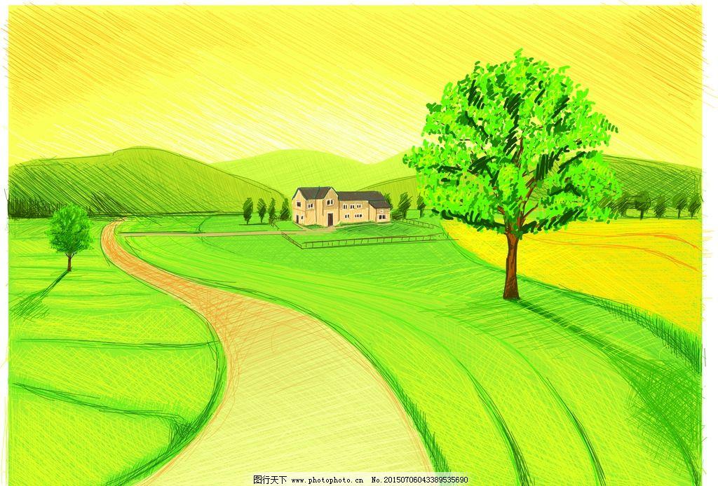 手绘 田园 小路 大树 风光 卡通 风景 设计 广告设计 卡通设计 cdr