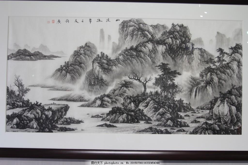 黑白国画山水