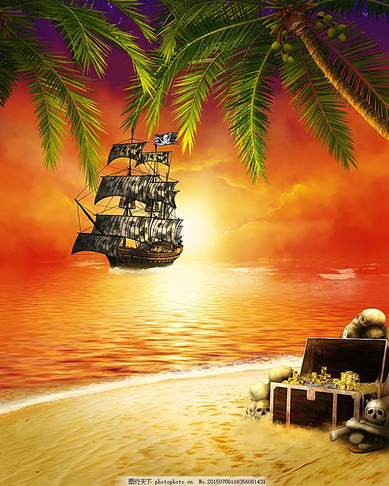沙滩风景 海滩风景 美丽风景 椰树 椰子树 黄昏 夕阳美景 海盗船 海洋