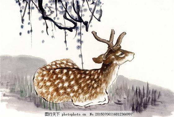 鹿 写意动物画 国画 _0026