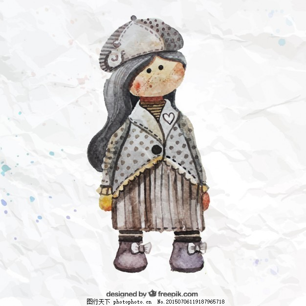 水彩画的娃娃