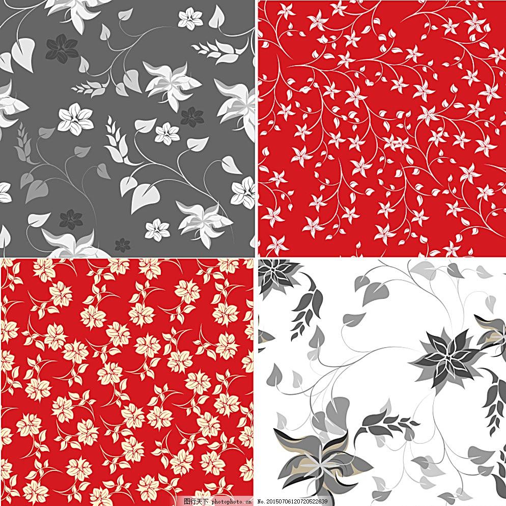 手绘花卉 花朵 鲜花 手绘 无缝花卉 植物花纹 装饰花纹 墙纸 花卉插图