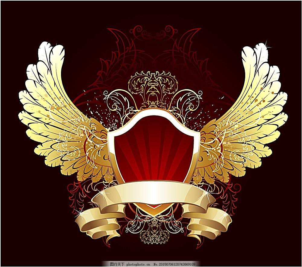 欧式花纹 古典花纹 传统花纹 盾牌 翅膀 徽标 矢量素材 eps 黑色 eps