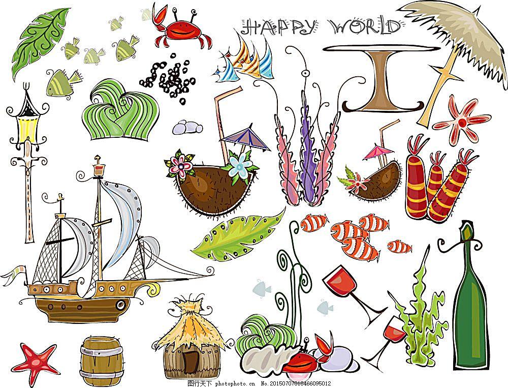 夏日海滩插画 夏日海滩 风景插画 树 手绘 椰树 夏季沙滩 帆船 遮阳伞
