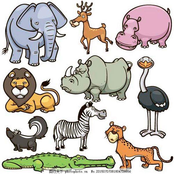 可爱的动物设计矢量素材 可爱的卡通动物 画动物 动物世界 陆地动物