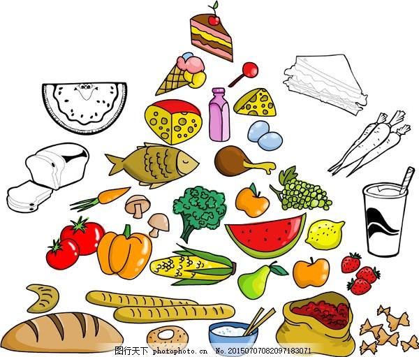 插画 模板下载 手绘 水果 水果矢量素材 素描 速写 手绘鸡鸭鱼肉 餐具