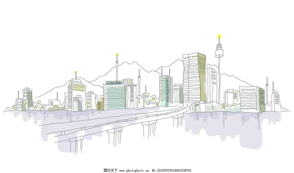 手绘城市 手绘 手绘城镇 手绘风景 手绘图 世界城市 城市风光 设计