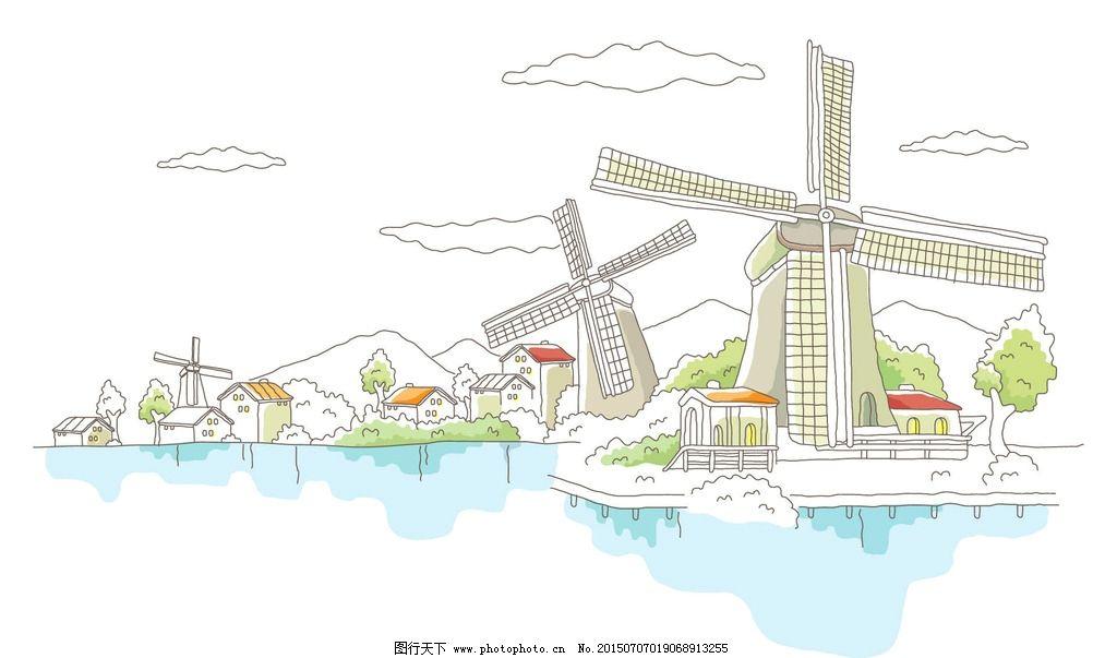 手绘世界风光 手绘城市 手绘城镇 手绘风景 手绘图 世界城市 城市风光