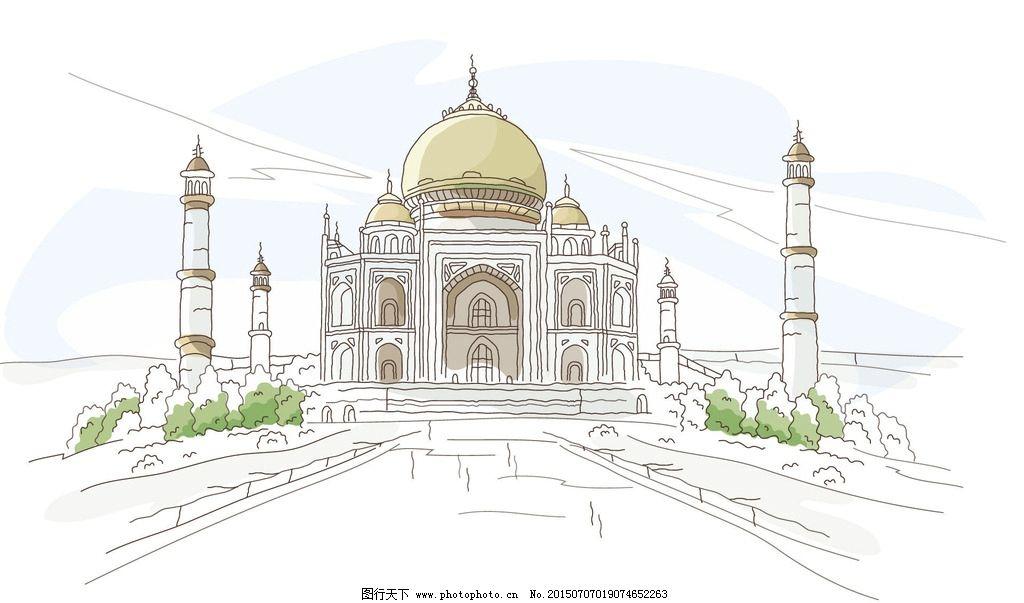 手绘城市 手绘 手绘城镇 手绘风景 手绘图 世界城市 城市风光 手绘