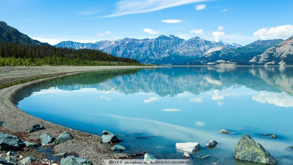 山水背景图片素材 水 石头 森林 天空 云 山背景图片免费下载